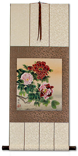 Elegant Peony Flowers<br>Asian Wall Scroll