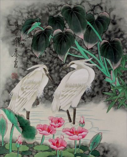 Asian Egrets<br>Early Morning Dew Painting