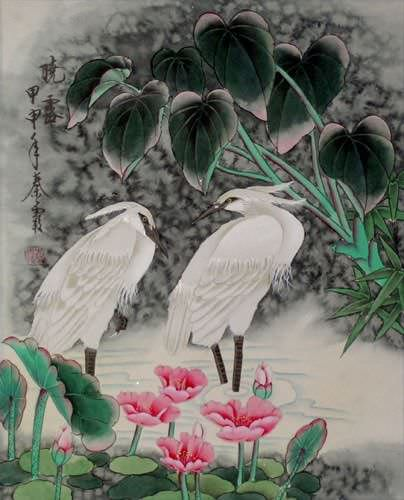 "See how ""Early Morning Dew - Egrets Painting"" would look after being professionally framed"
