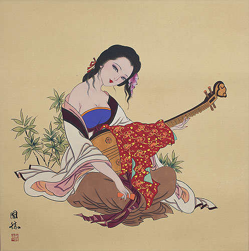 Antique-Style Chinese Woman Playing Lute Painting