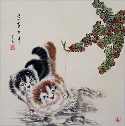 "See how ""Chinese Kitten Painting"" would look after being professionally framed"
