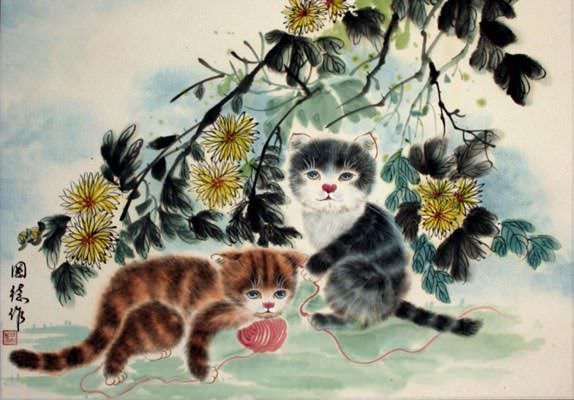 Kittens at Play<br>Asian Portrait