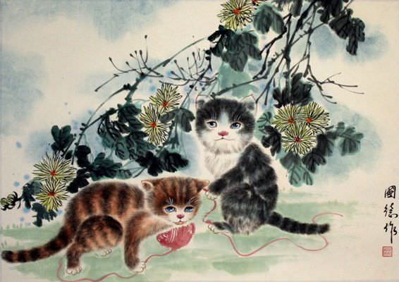 "See how ""Kittens at Play - Chinese Painting"" would look after being professionally framed"