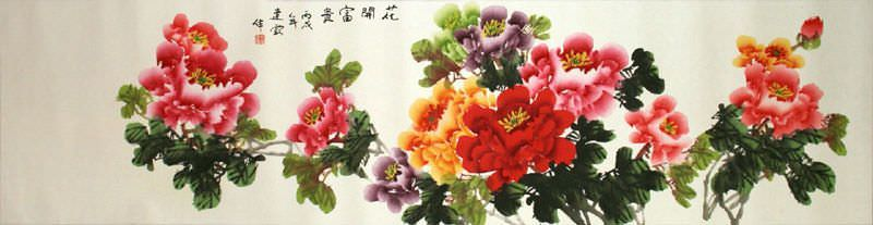 Colorful Peony Flowers - Wide Chinese Painting