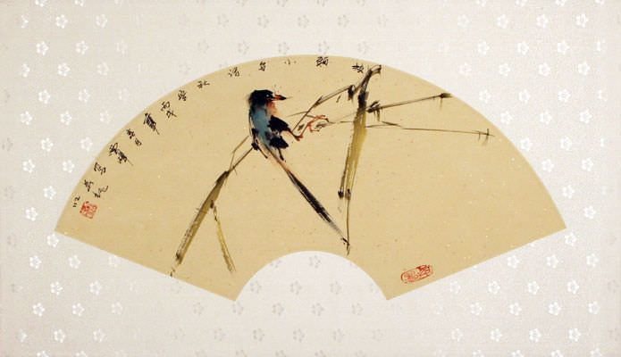 Chinese Fan-Style Bird Painting