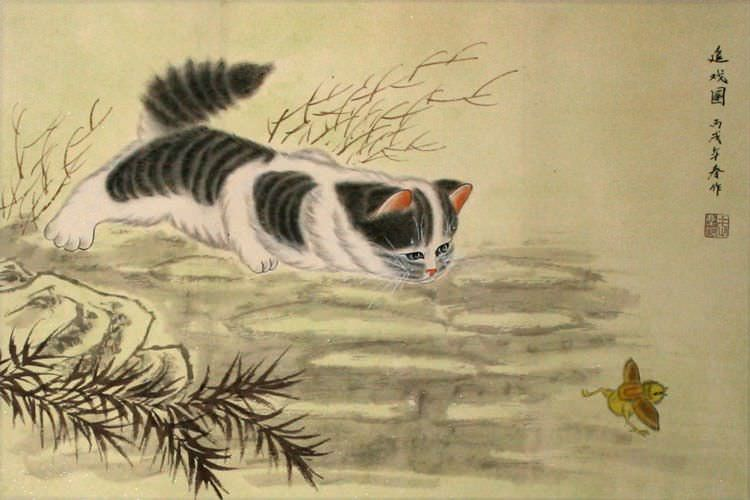 Kitten Chasing Bird<br>Asian Painting
