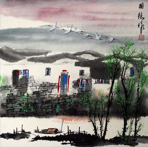 Birds Over Suzhou - Chinese Village Painting