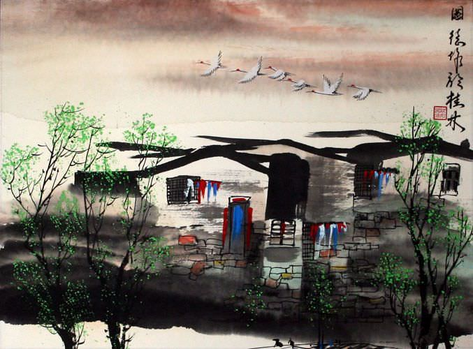 "See how ""Birds Over Suzhou - Asian Venice Painting"" would look after being professionally framed"