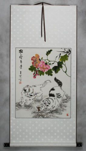 Chinese Kittens - Asian Wall Scroll
