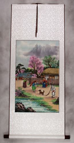 North Korean Happy Village Wall Scroll