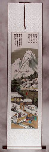 Winter Gathering in North Korea - Handmade Wall Scroll