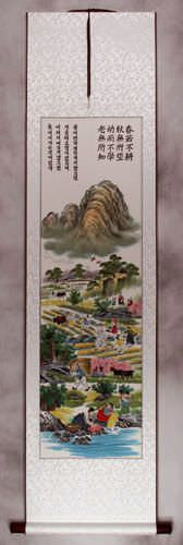 North Korean Lush Village Wall Scroll