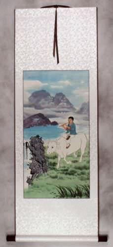 North Korean Cowboy Wall Scroll