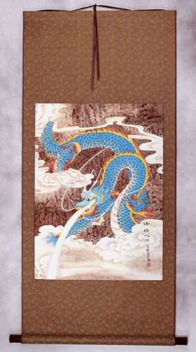 Good Luck Blue Dragon - Chinese Wall Scroll