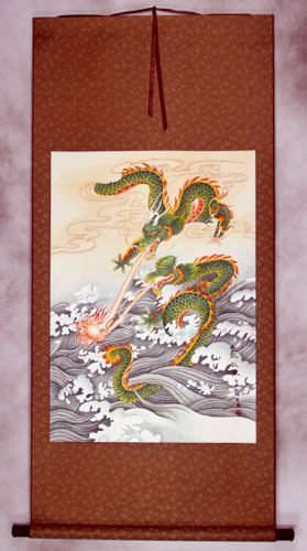 Two Dragons Pearl Fireball Revelry<br>Asian Wall Scroll