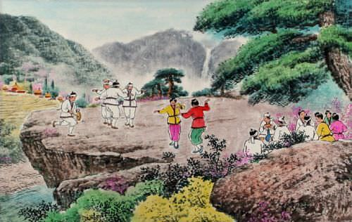 North Korean Dancing Painting