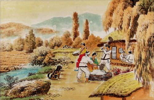 "See how ""North Korean Village Folk Art Painting"" would look after being professionally framed"