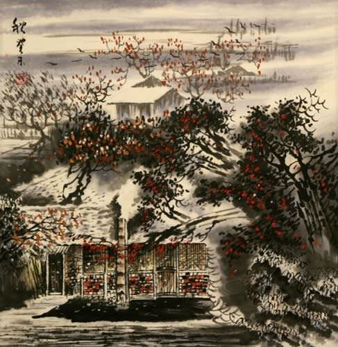 Village Home Late Autumn Landscape Painting
