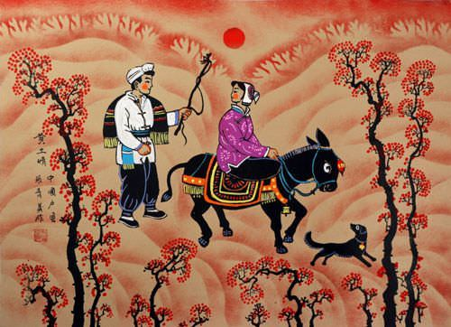 "See how ""Donkey Couple - Chinese Folk Art Painting"" would look after being professionally framed"