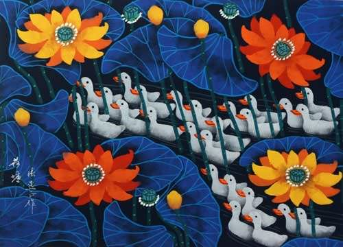 Ducks in Lotus Pond - Chinese Folk Art Painting