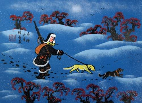 "See how ""Winter Hunt - Chinese Folk Art Painting"" would look after being professionally framed"