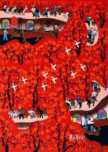 Jujube Village<br>Southern Chinese Folk Art Painting