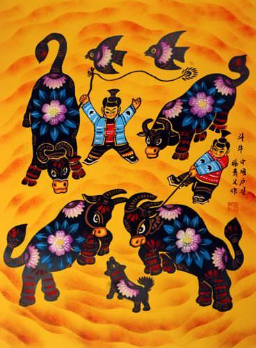 Bull Fight - Chinese Folk Art Painting