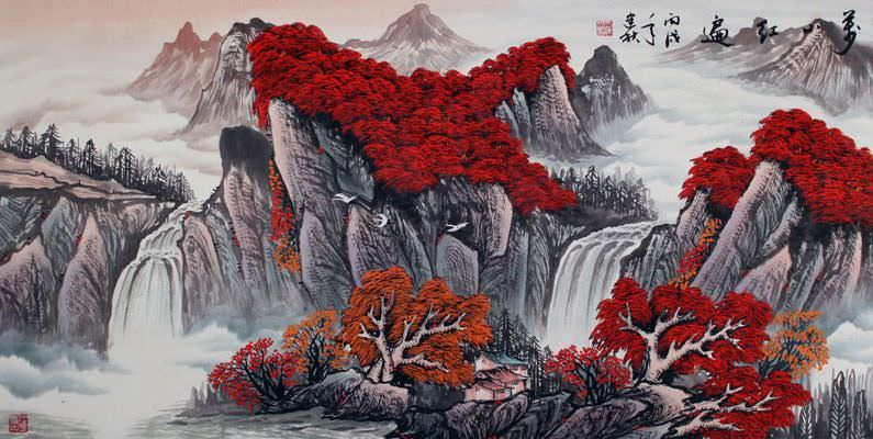 "See how ""Red Leaves of Autumn - Asian Art Landscape"" would look after being professionally framed"