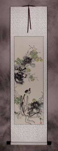 Jiang Feng's Abstract Asian Portrait Wall Scroll