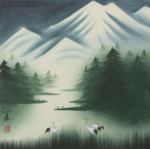 Wisdom Listens to Snow Chinese Watercolor Painting