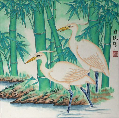 "See how ""Bamboo Egrets Painting"" would look after being professionally framed"