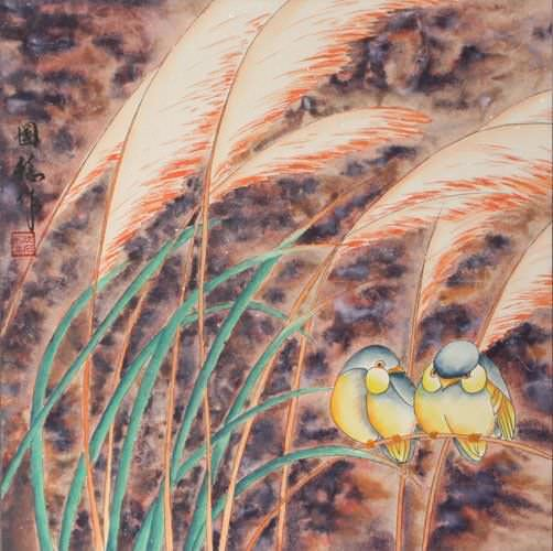 Birds in the Reeds Painting