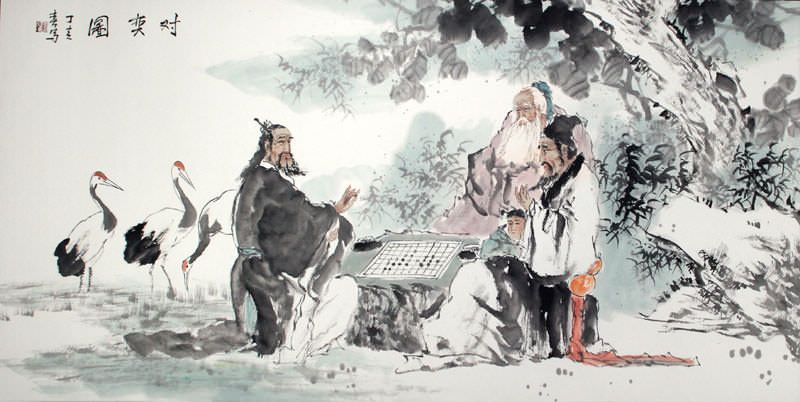 "See how ""Playing Wei Qi or Go - Chinese Painting"" would look after being professionally framed"