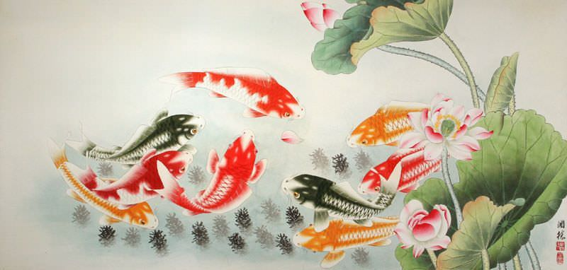 Koi Fish and Lotus Flower - Huge Painting