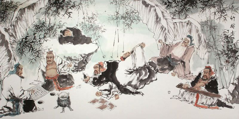 Seven Sages of the Bamboo Grove - Chinese Painting