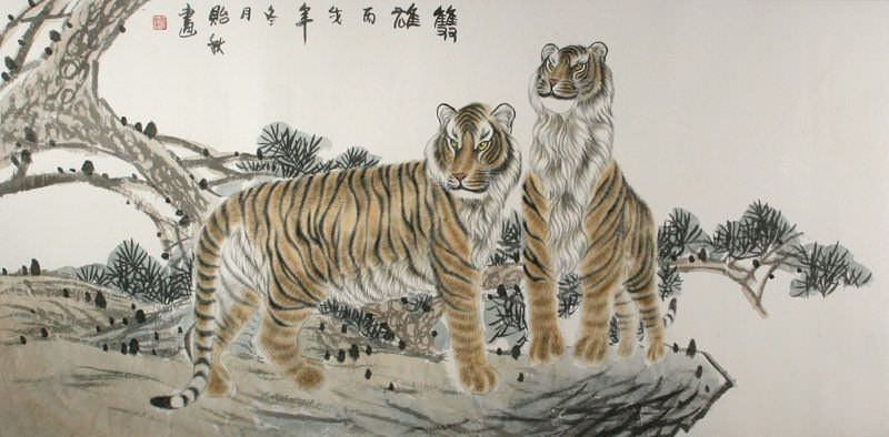 "See how ""Chinese Tigers - Large Painting"" would look after being professionally framed"
