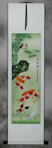 Koi Fish and Bamboo Wall Scroll