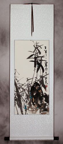 Short Chinese Black Ink Bamboo Wall Scroll