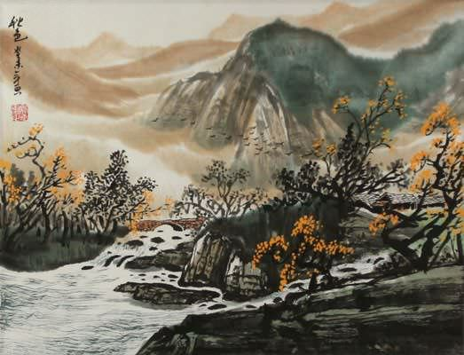 "See how ""Chinese Autumn Landscape Painting"" would look after being professionally framed"