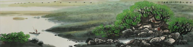 Family by the Water - Chinese Landscape Painting