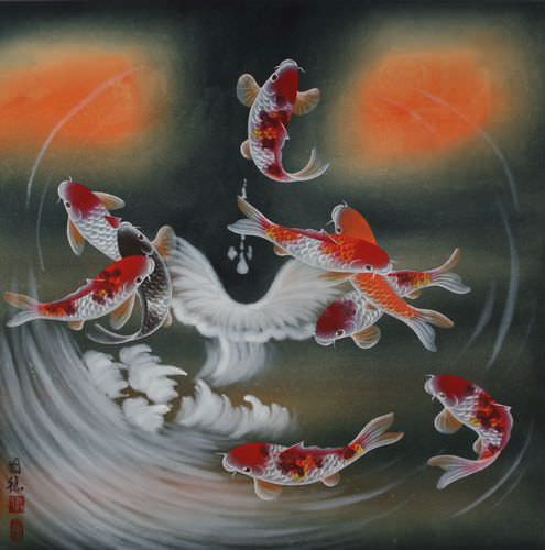 Nine Koi Fish Masterpiece Painting