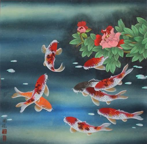 Nine koi fish and flowers asian painting asian koi fish for Koi fish japanese art