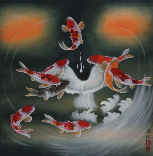 Nine Koi Fish Masterpiece - Chinese Painting