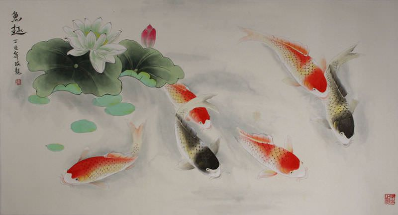 Chinese Koi Fish Watercolor Painting Chinese Art