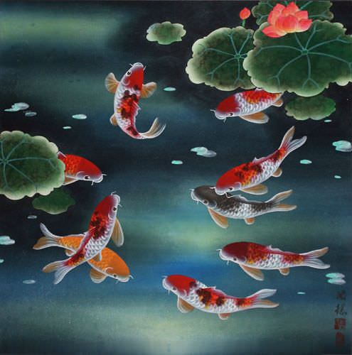 Nine Koi Fish and Lotus Flowers - Chinese Painting
