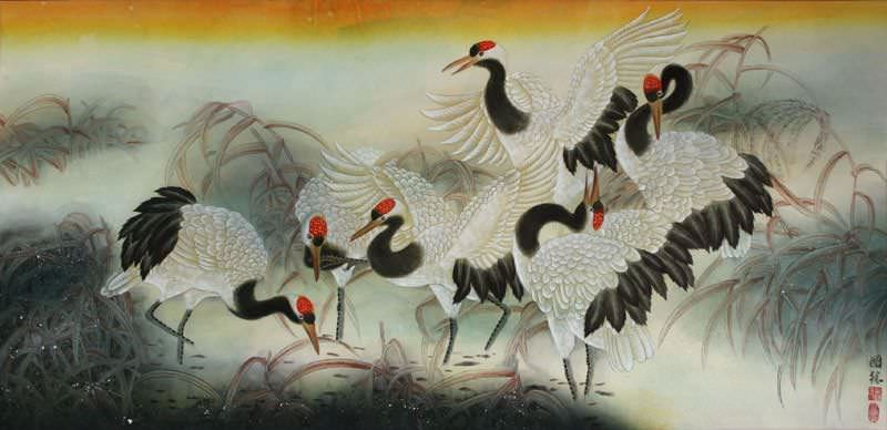 Large Chinese Cranes Painting
