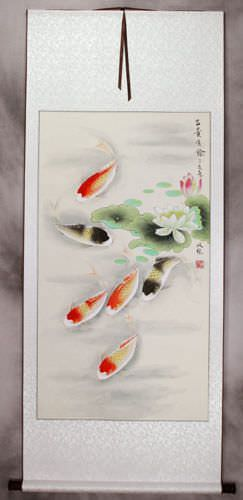 Japanese Koi Fish and Lotus - Silk Wall Scroll