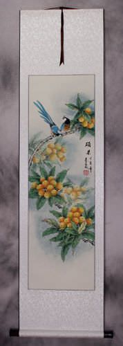 Traditional Asian Bird and Flower Wall Scroll