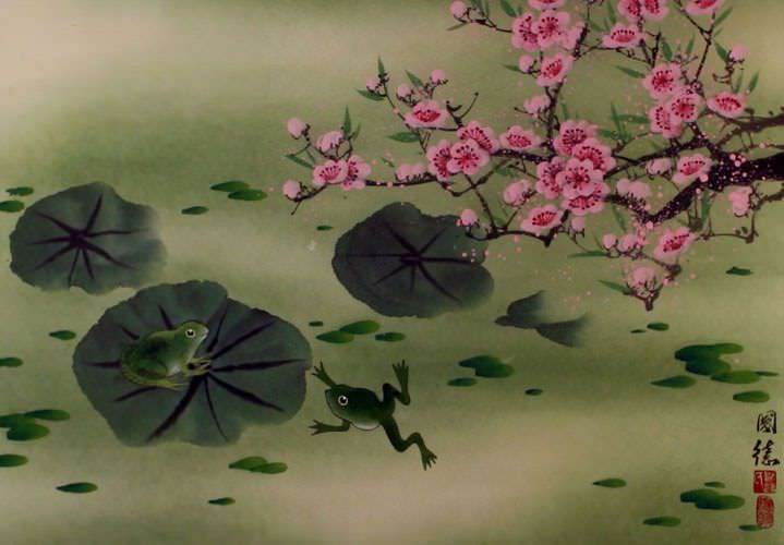 Frogs and Plum Blossom Painting