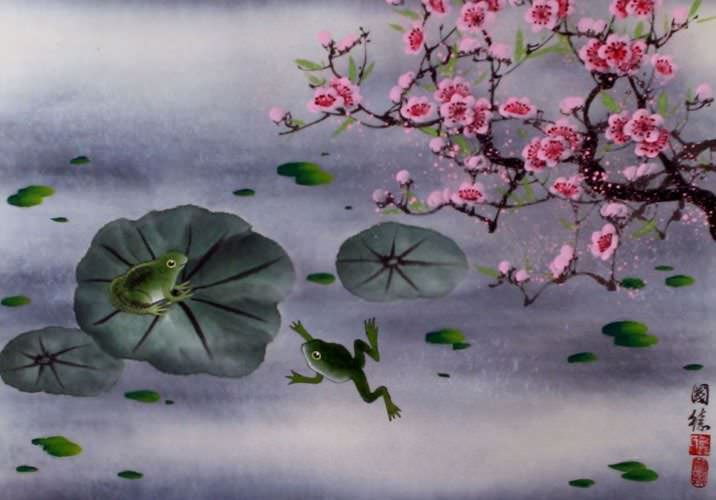 "See how ""Chinese Frogs and Plum Blossom Painting"" would look after being professionally framed"